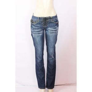 ANTIQUE RIVET DARK STONE WASHED LACE UP JEAN 30